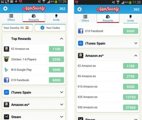 App bounty vue des gains d argent
