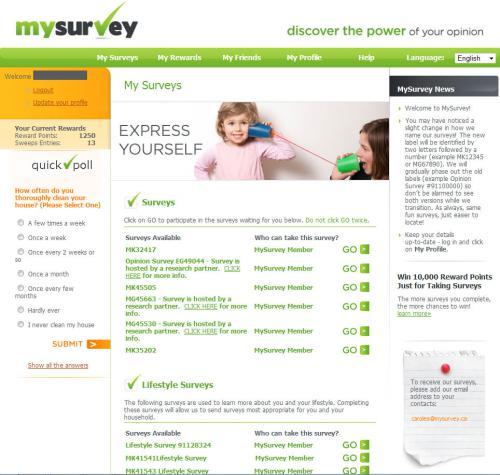 interface site web my survey sondages