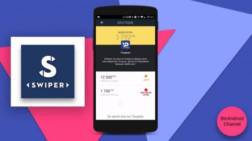 Vue de l'app mobile Swiper sur android